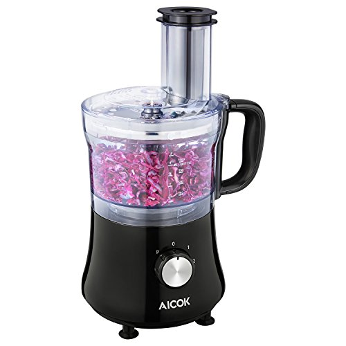 Aicok 8-Cup Food Processor with Compact Storage, Exact Slice/Shred/Grind System, 2 Speeds, 500W, Black