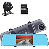 1296P Dash Cam Dual Lens Mirror Camera 5 IPS Screen Rearview Mirror Cam with Front and Back Camera G-Sensor Loop Recording ADAS 16GB TF Card Included