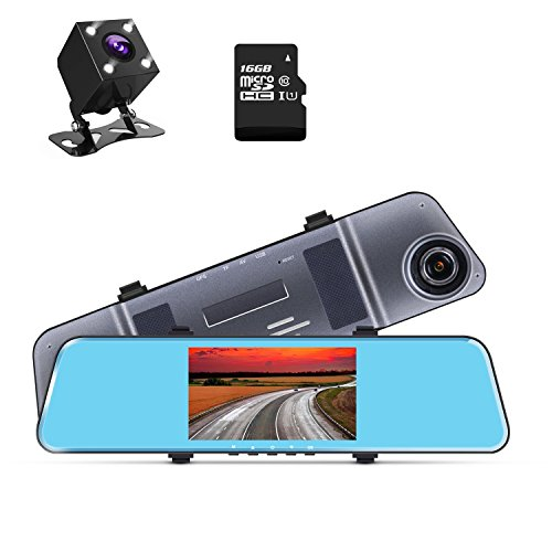 1296P Dash Cam Dual Lens Mirror Camera 5″ IPS Screen Rearview Mirror Cam with Front and Back Camera G-Sensor Loop Recording ADAS 16GB TF Card Included