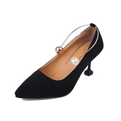 ZHZNVX Señaló la Nueva Caída de los Zapatos de Tacón Alto Pearl Anillo Fino Mate con Solo Zapatos Boca Superficial Baja Zapatos de Mujer, Negro,39