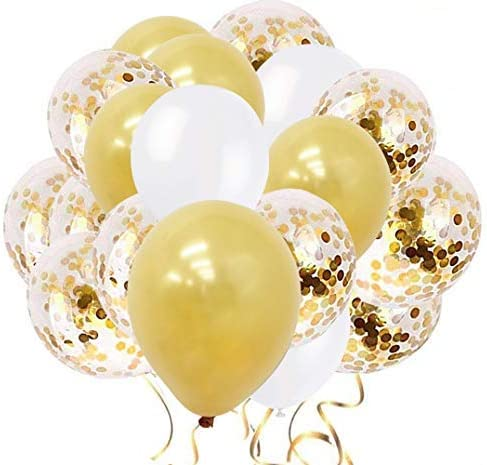 60 PCS 12 Inch Balloons Upgraded Gold Balloons + Confetti Balloons + White Balloons Gold Confetti Balloons Latex Party Balloons for Wedding Graduation Birthday Parties Decorations