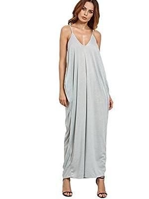 Verdusa Women's Spaghetti Strap V-Neck Side Pockets Loose Maxi Dress