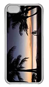 Customized iphone 5C PC Transparent Case - Tropical Beach Silhouette Personalized Cover by lolosakes