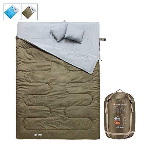 Semoo Saco de Dormir Muy Ligero, Impermeable, para Camping, Senderismo, Actividades al Aire Libre, 2 Estaciones, Bolsa de Compresión, Medidas 190 x 84 cm product image