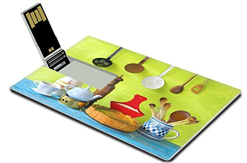 Luxlady 32GB USB Flash Drive 2.0 Memory Stick Credit Card Size Kitchen utensils and a cheese cake cooking concept IMAGE 36468500