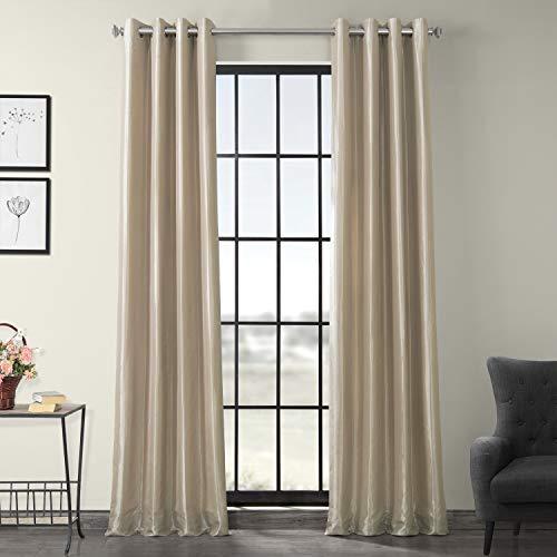 Half Price Drapes PTCH-BO130907-84-GR Grommet Blackout Faux Silk Taffeta Curtain, Antique Beige
