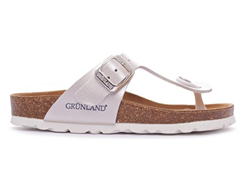 Grunland Luce filles, cuir lisse, flip-flops