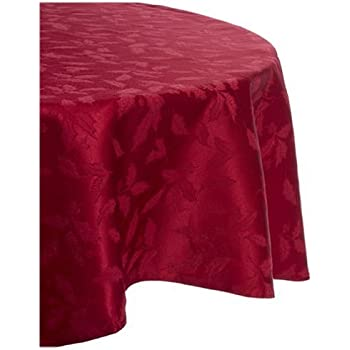 Lenox Holly Damask Tablecloth, 70 Inch Round, Red