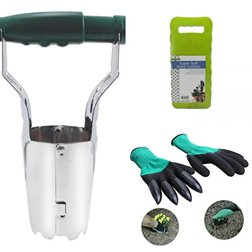 Bulb Planter Tulip Transplanter with Depth Marks Bundle Consists of: Backyard Claw Gloves and Padded Kneeler