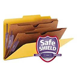 SMD19084 - Smead 19084 Yellow Pressboard Classification Folders with Pocket-Style Dividers and SafeSHIELD Fasteners