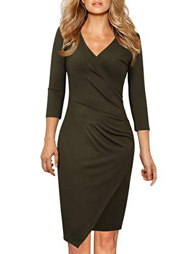 GlorySunshine Women's Sleeveless V Neck Faux Wrap Ruched Midi Bodycon Cocktail Pencil Dress (2XL, Army Green 7)