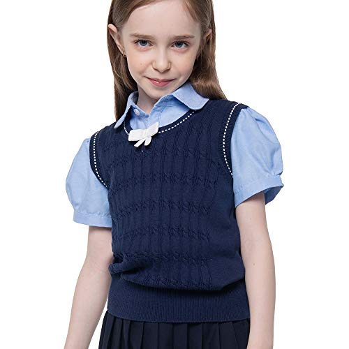 Benito & Benita Girl's Sweater Vest School Vest V-Neck Uniforms Cotton Pullover with Bows for Girls 3-12Y Navy