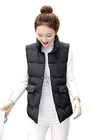 XFentech Women's Quilted Gilet - Casual Warm Winter Autumn Vest Down Sleeveless Jacket Outwear Bodywarmer Coat,Black,US 2XL=Tag 3XL