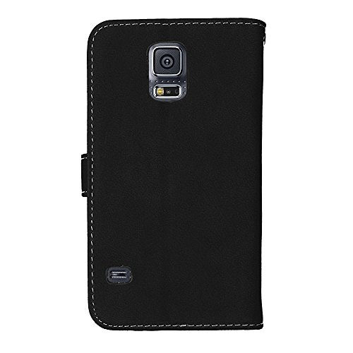 Galaxy S5 Flip Wallet Case, Galaxy S5 Neo Case, Samsung Galaxy S5 / S5 Neo Case Leather [Cash and 9 Card Slots], BONROY® Retro Premium PU Leather Stand Flip Phone Case with Magnetic Card Slot Holder W black
