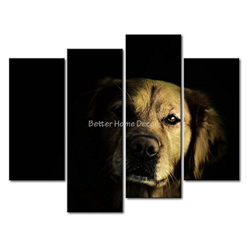 Black & White YEHO Art Gallery Painting Golden Retriever In The Dark Picture Print On Canvas Animal The Picture (Dark Bronze Golden Retriever)