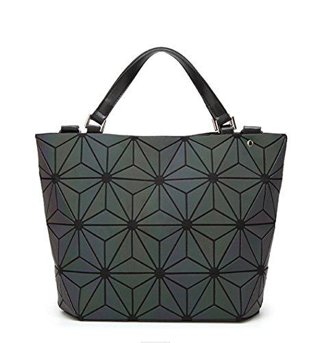 (JVPS 23-B) Paquete de variedad brillante 2018 Nuevo bolso de cubo Moda Moda de diamante en forma de diamante japonés Moda bolso plegable Negro