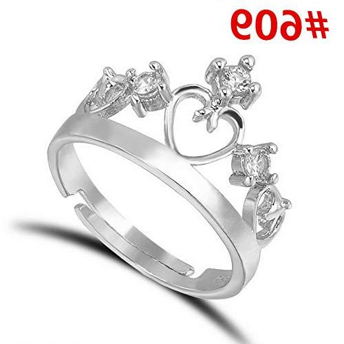 Dokis Fashion Women White Gold Plated Crystal Rhinestone Engagement Wedding Rings Gift | Model RNG - 4248 | 5