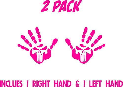All About Families Two Jeep Wave Hands with Skull ~ Pink ~ Fits Jeep Wrangler JK CJ TJ YJ ~ Pair Left and Right ~ Die Cut 3M Vinyl Decal -