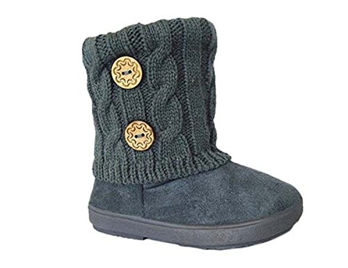 Kids Boots Toddler Girls Cute 2 Buttons Faux Fur Suede Knitting Shoe | 285 (Toddler 5, Grey) ()