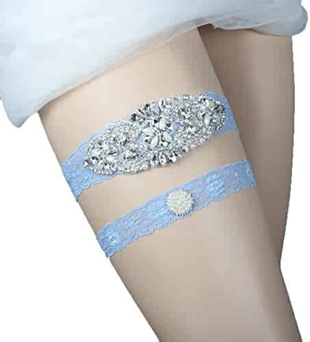 96ea6f6916d Prettybabyonline Wedding Garters Belt Set For Bride Bridal Garter Plus Size  Blue Lace Rhinestones