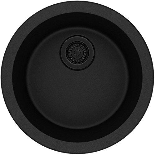 (Elkay Quartz Classic ELG16FBBK0 Black Single Bowl Dual Mount Bar Sink)