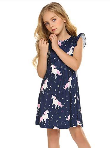 Princess Nightgown for Girls Unicorn Cat Flutter Sleeve Cotton Pajamas Dress Navy Blue