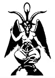 Baphomet Die Cut Vinyl Sticker - Goat Skull Sigil of Lucifer Demonic Devil Dragon Demon Evil Mendes Goat's Head Gothic Metal Occult Punk Satan Satanic Skeleton Voodoo Wicca (32 x 20.5 inches)