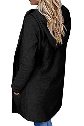 Bolsillo Capucha Sólido Mujer La Sudadera Casual Con negro Abrigos Con Frente Sueltas Abierto Capucha YFxtwxd