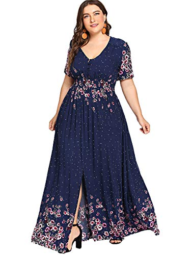 ROMWE Women's Plus Size Floral Print Buttons Short Sleeve Split Flowy Maxi Dress Navy 2XL