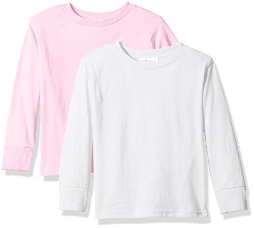 Clementine Unisex Baby Boy Everyday Short Sleeve Toddler T-Shirts Crew 2-Pack, White/Ash Grey, 7 -