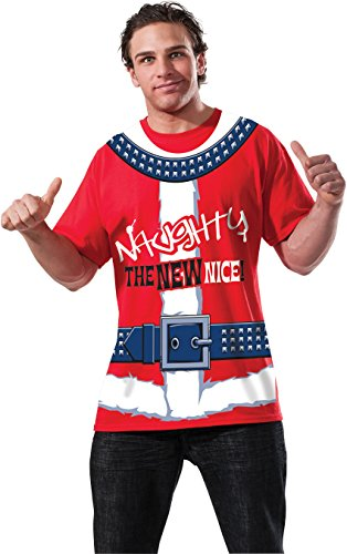 Rubie's Men's Clausplay Naughty Is The New Nice T-Shirt, Red/White, Large - Mens Naughty Elf Costume
