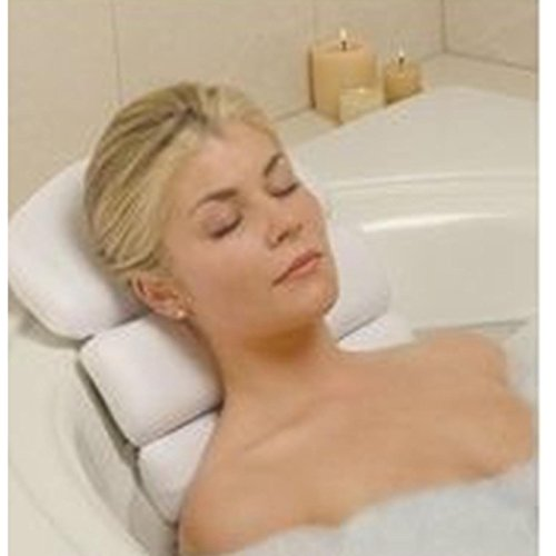 Stock Your Home Luxury Spa Bath Pillow Mat Features 3 Panel, Nonslip Jacuzzi Pillow with Removable Suction Cups and Extra Thick Foam Cushion Providing Head, Neck & Back Support for Ultimate Relaxation (Bath Pillow)