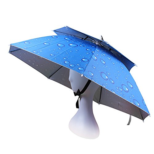 JANGANNSA Double Layer Folding Umbrella Hat Compact UV Wind Protection Sun Rain Cap (Blue)