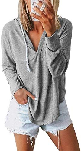 Kirundo 2021 Women's Deep V Neck Hoodie Long Sleeves Solid Color Drawstring Belt Sweatshirt Loose Tops Blouses