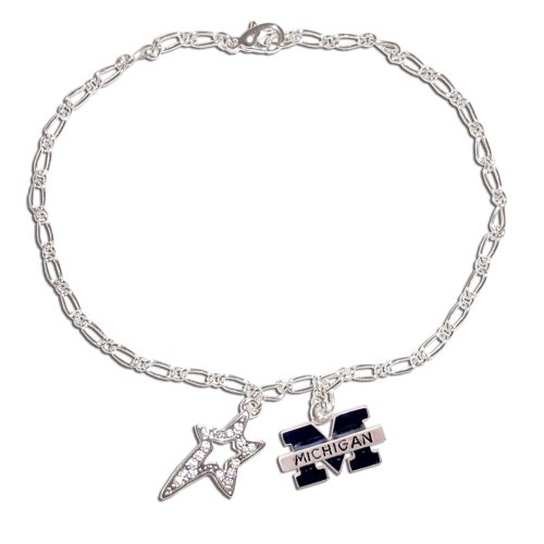 Michigan Wolverines Wishing Star Dangle Charm (Michigan Wolverines School Charm)