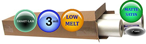 SmartLam Low Melt Laminating Film 25-inch x 250-feet x 1-inch core (4 Rolls) 3.0 Mil Matte-Satin