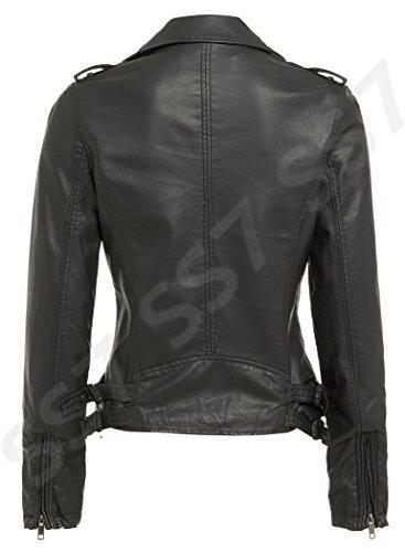 Pour Motard Tailles 16 8 Nouvelles Noir Noir Ss7 Veste Femmes Marron 8RO7PqA