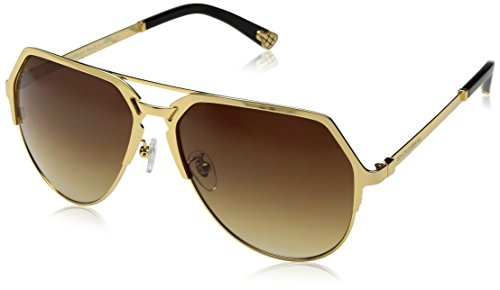 D&G Dolce & Gabbana Men's 0DG2151 Aviator Sunglasses, Gold Plated 18KT Brown Mirror Bronze, 59 - Aviator Sunglasses Plated Gold