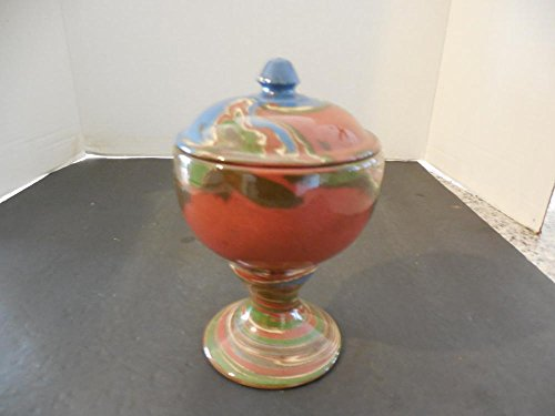 Stunning Evan Pottery Handmade Footed Jar lid Rainbow of Vibrant Colors