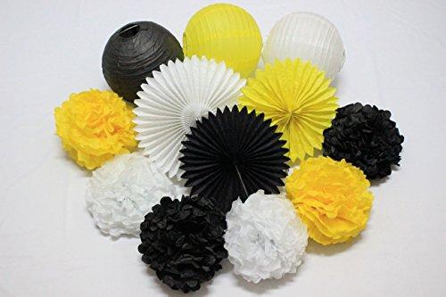 Set of 12 Mixed White Yellow Black DIY