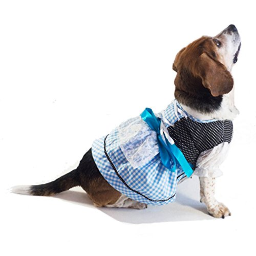 Dirndl Costume For Dogs (EINSZWEIDOG Oktoberfest German Dirndl Dog Dress Costume, Blau (S))