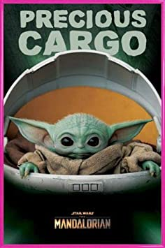MDF 91 x 61cm 1art1 Star Wars Poster et Cadre - The Mandalorian Precious Cargo