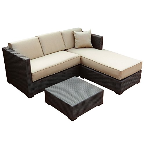 Abba Patio Furniture Set 3 Piece Outdoor Wicker Rattan Garden Sofa and Chaise Lounge Set with Cushioned Seat, Brown (Rattan Lounge)