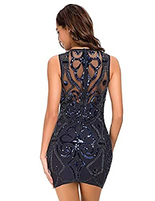 VVMCURVE Womens 1920s Sequin Vintage Bodycon Cocktail Gatsby Party Evening Dress