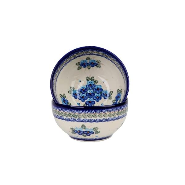 Polish Pottery Ceramika Boleslawiec, 0410/162, Bowl 19, 5 1/4 Cups, Royal Blue Patterns with Blue Pansy Flower Motif
