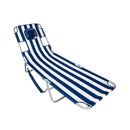 Ostrich CHS-1002S Chaise Lounge, 77.16 x 24.6 x 13.4 inches Assembled, Blue and White Striped (Chaise Lounge White Chairs)