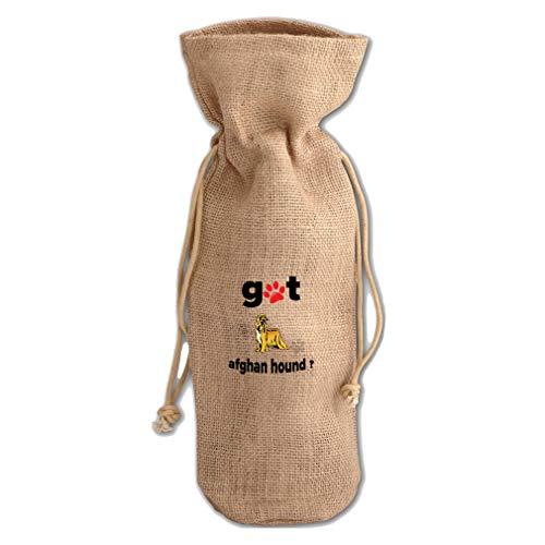 Got Afghan Hound Dog Jute Burlap Wine Drawstring Bag Wine Sack Natural