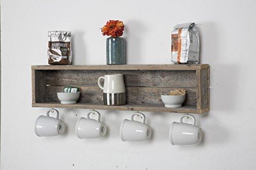DAKODA LOVE - Rustic Coffee Bar Floating Shelf, USA Handmade Reclaimed Wood (Barnwood) (Rustic Coffee Cups)