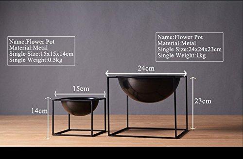 1pc Modern Tabletop Vase Metal Square Flower Plant Pot Tray Cube Pergola Garden Planting Flower Home Decoration (Black Color Large Size) by Laugh Cat (Image #3)