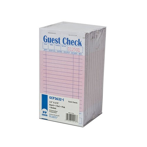 Royal Pink Guest Check Board, 1 Part Booked with 15 Lines, Package of 10 Books by Royal